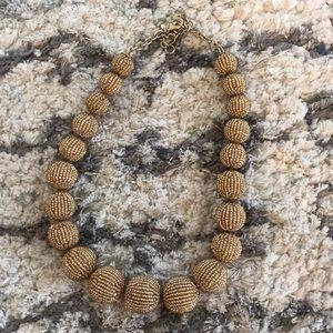 J Crew Gold Bead Statement Necklace